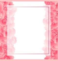 Pink carnation flower banner card border vector