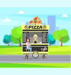 pizza mobile shop carts store vector image