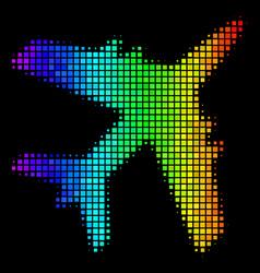 Rainbow dotted jet plane icon vector