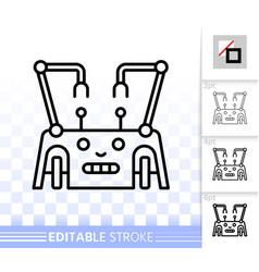 robot simple black line icon vector image