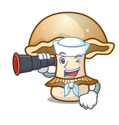 Sailor with binocular portobello mushroom mascot vector