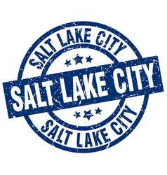 Salt lake city blue round grunge stamp vector