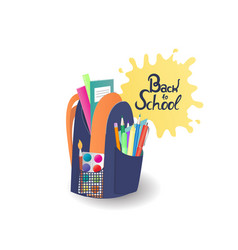 school backpack with notebooks paints supplies vector image