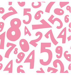 Seamless pattern with cute pink cartoon numbers vector