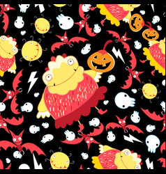 seamless super pattern with monsters and bats for vector image