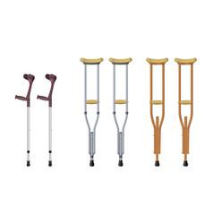 Set of crutches elbow crutch telescopic metal vector