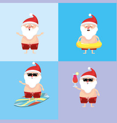 Set santa claus in the summer holiday vacation vector
