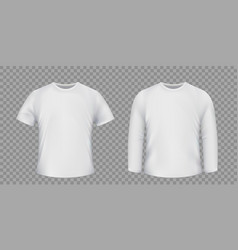 Set white t-shirts isolated on a transparent vector