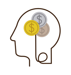 Silhouette profile human head with coins with vector
