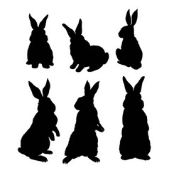 silhouette rabbit vector image