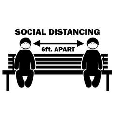 Social distancing 6 ft apart stick figure vector