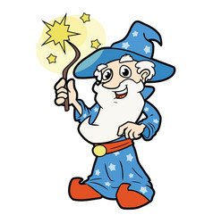 Sorcerer with magic wand vector