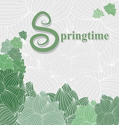 spring card with green plants on a light gray back vector image