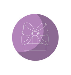 sticker gift present with ribbon decoration to vector image