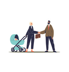 Successful businesswoman with baby stroller vector