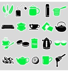 tea theme simple stickers icons set eps10 vector image