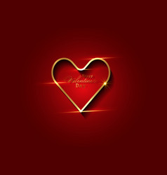 valentines day background with gold luxury heart vector image