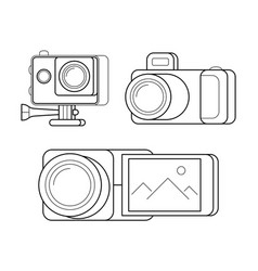 Videocamera gopro and digital photocamera vector