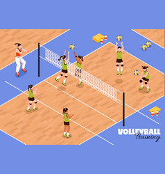 Volleyball kids team background vector