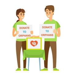 Volunteers couple donate to orphans help vector