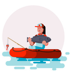 woman in boat with big fish vector image