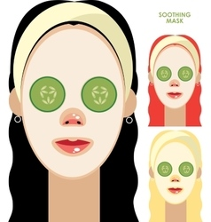Women with facial soothing mask vector