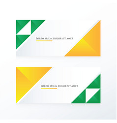 yellow green triangle banner vector image