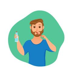 Young man brush teeth cartoon style concept vector