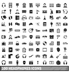 100 headphones icons set simple style vector image