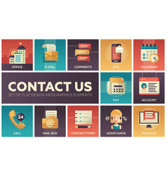 contact us - modern flat design icons set vector image vector image