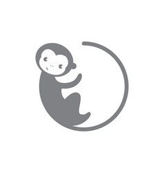grey circle monkey icon vector image vector image