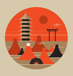 japanese landscape travel poster beautiful pagoda vector image