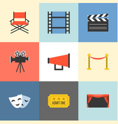 movie icons set flat design vector image vector image