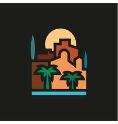 Palm trees and building with sea at sunset vector image