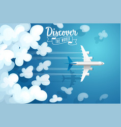 passenger plane flying above clouds travel poster vector image