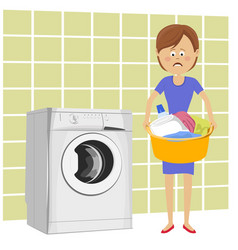 unhappy woman with basin filled with dirty clothes vector image