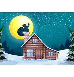 Winter cabin vector image vector image