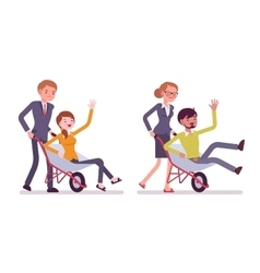 Business people pushing men in the wheelbarrow vector image vector image