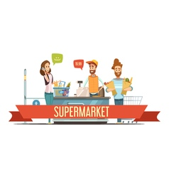 Customers at supermarket checkout cartoon vector