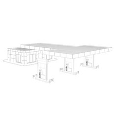 Gas station wire frame vector