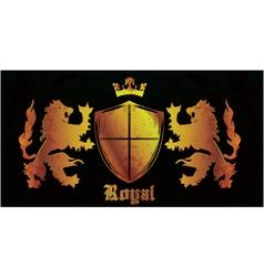 gold grunge emblem with shield vector image