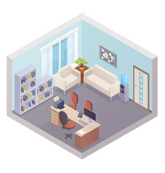 isometric office interior with boss workplace vector image