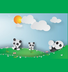 paper art of pandas playing in the vector image