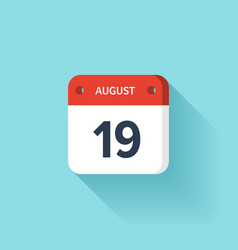 August 19 isometric calendar icon with shadow vector