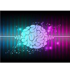 Brain colorful lights background vector image
