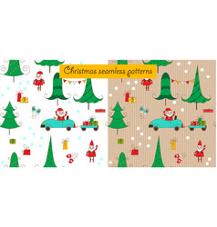 Christmas seamless patterns with santa and a car vector