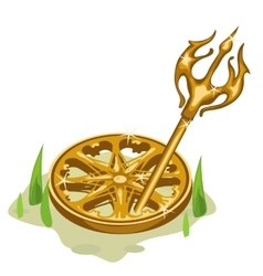 Golden wheel and Trident in the grass vector image vector image
