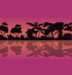 Landscape jungle with tree reflection silhoutte vector