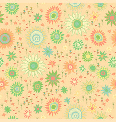 Seamless doodle floral kids pattern vector
