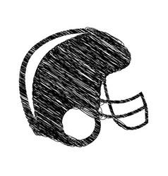silhouette drawing american football helmet vector image